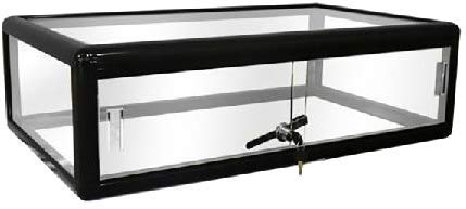 Only Hangers Black Countertop Glass Display Showcase, Black Aluminum Frame with Sliding Doors and Front Lock