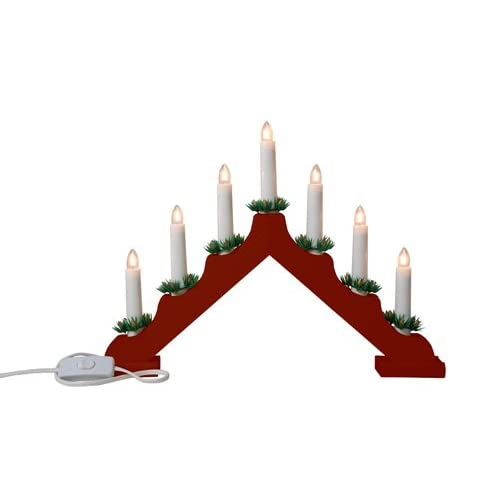 snow white christmas candle bridge with 7 candle lights red