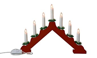 Snow White Christmas Candle Bridge with 7 Candle Lights, Red ...