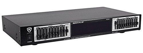 Rockville REQ20 19'' Rack Mount Pro Dual 10 Band Graphic Equalizer EQ w/VU Meters
