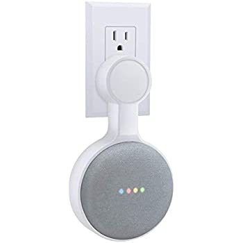 White Wrap Cord Around Back Reel Design No Need Drill and Screw Londear Google Home Mini Wall Mount Outlet Wall Mount Hanger Holder Stand for Google Home Mini Voice Assistant