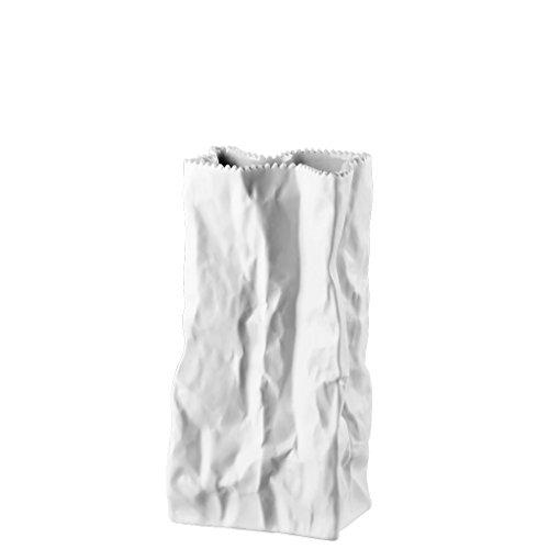 Rosenthal Paper Bag Vase Do not Litter, Porcelain, 22 cm, Wh