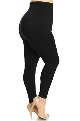 Plus Size Spandex Leggings - Yelete Legwear High Waist Compression Leggings with French Terry Lining, Plus Size, Black