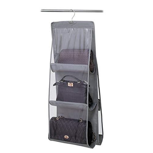 LONGTEAM Hanging Handbag Organizer Dust-Proof Nonwoven Storage Holder Bag Closet Wardrobe for Purse Clutch with 6 Large Pockets (Grey)