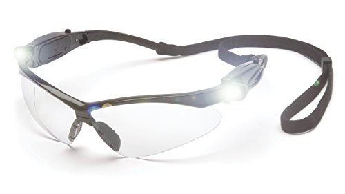 Pyramex PMXTREME Safety Glasses, Black Frame LED Temples/Clear - Sale Sunglasses Online