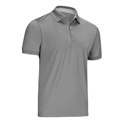 Mio Marino Golf Polo Shirts for Men - Regular-fit Quick-Dry Mens Athletic Shirts (Dark Gray, Meduim)