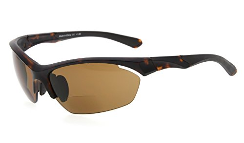 Eyekepper TR90 Sports Bifocal Sunglasses Baseball Running Fishing Driving Golf Softball Hiking Half-Rimless Reading Glasses (Matte Tortoise, - With Sunglasses Bifocals Fishing