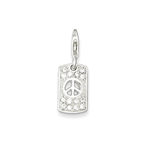 Sterling Silver Solid Cut-out Reversible Spring Ring Polished back Cubic Zirconia Peace Charm
