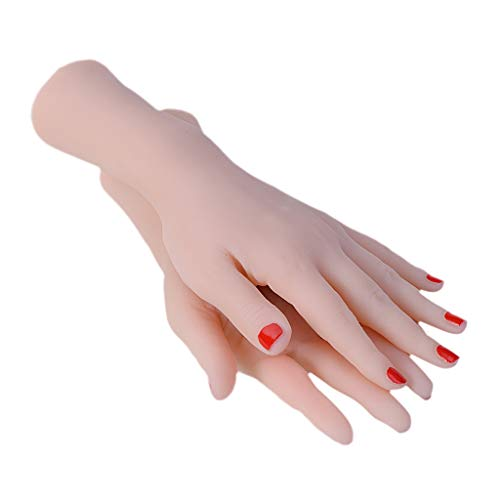 Fityle 1 Pair Silicone Female Hand Mannequin Dummy Soft Woman's Hand with Free Nail Tips Nail Glue,or for Tattoo Practice Hand for Artists and Beginners