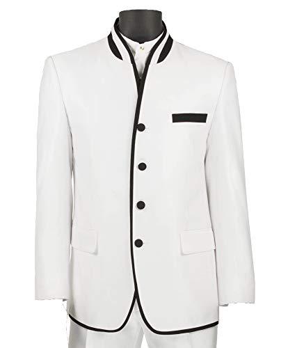 (VINCI Men's Sharkskin Banded Collar Slim-Fit Tuxedo Suit w/Black Trim White | Size: 50 Long / 44 Waist)