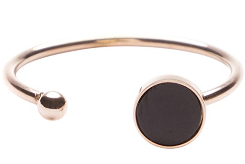 Happiness Boutique Open Ring with Circle and Metal Ball | Cuff Ring in Black and Rose Gold