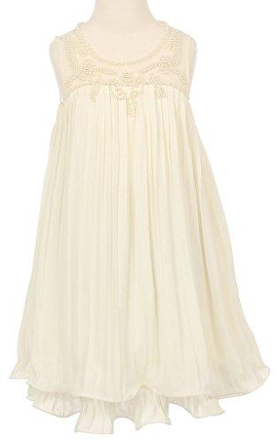 AkiDress Pleaded Pearl Neckline Beaded Hem Length Dress for Little Girl Ivory 10