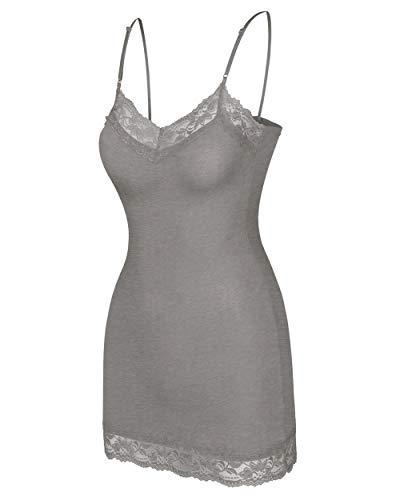 Nolabel BCT04 Womens Slim Lace Trim V Neck Long Length Spaghetti Strap Camisole Top H.Charcole/S