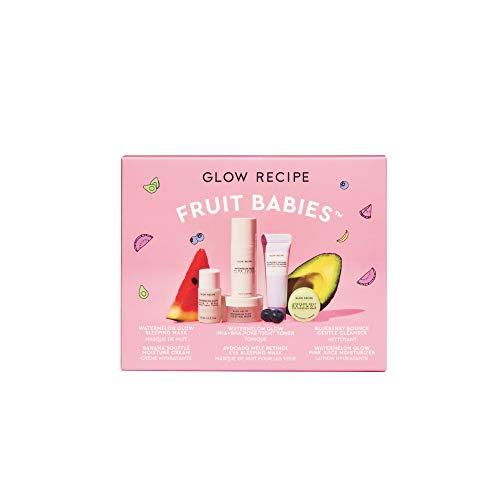Glow Recipe Fruit Babies Kit - 5-Piece Facial Set with Watermelon Sleep Mask, Blueberry Bounce Cleanser, Avocado + Retinol Eye Cream, Watermelon Pore-Tight Toner + Pink Juice Moisturizer - Travel-Size