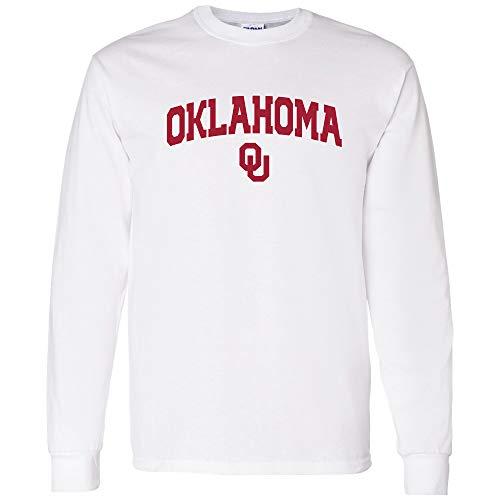 UGP Campus Apparel AL03 - Oklahoma Sooners Arch Logo Long Sleeve - 2X-Large - White - Oklahoma Logos Sooners