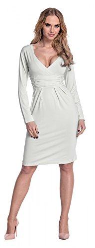 A 285 Abito sporco Glamour Empire Bianco Matita Scollo Eleganti Donna Vestito V A Casual UxRZzwPqxp