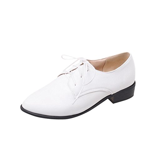 Latasa Mode Féminine Bout Pointu Faible Chunky Talon Lacer Chaussures Oxford Blanc