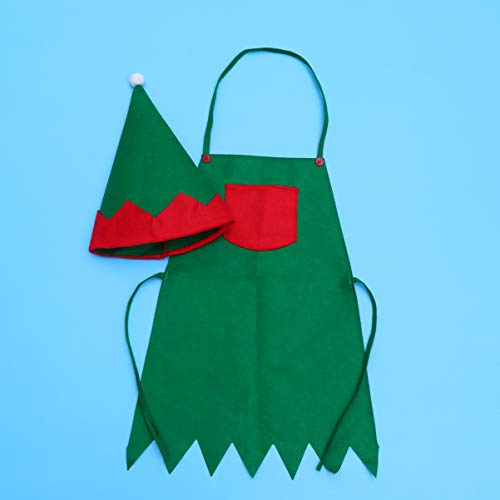 Amosfun Elf Apron Christmas Elf Hat Xmas Santa Elf Suit Kitchen Chef Apron Ornament for for Children Toddlers Kids Cooking Baking Festive Gift