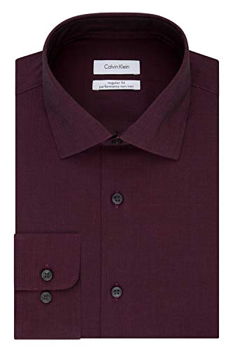 Calvin Klein Men's Dress Shirt Regular Fit Non Iron Herringbone, Bordeaux, 15.5