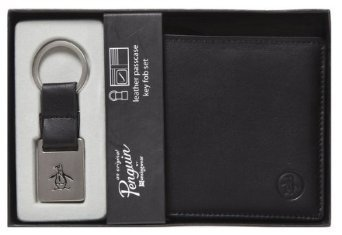 Original Penguin Men's Boxed Leather Wallet Key Ring Gift ...