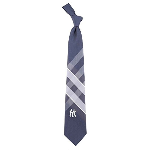 NY New York Yankees Grid Neck Tie with MLB Baseball Sports Team Logo (New York Yankees Ties)