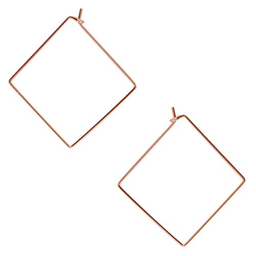 Humble Chic Square Hoop Earrings for Women - Hypoallergenic Lightweight Open Wire Threader Drop Dangles, 18K Rose Square, Pink Gold-Electroplated, Hypoallergenic