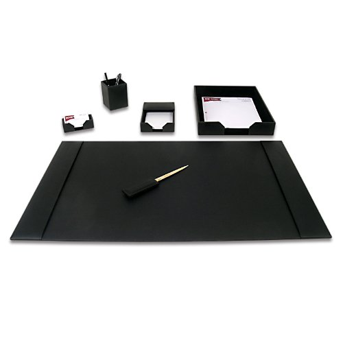 Dacasso Black Bonded Leather 6-Piece Desk Set (Executive Set Top Desk)