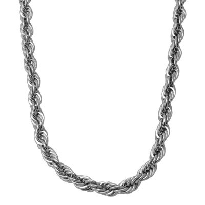 3mm STAINLESS STEEL FINE DIAMOND-CUT ROPE CHAIN 16 18 20 22 24 30 (316L Stainless Steel, 20 Inches) (3mm Necklace Cut Rope Diamond)
