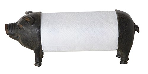 Creative Co-op Farmhouse Pig Rustic Style Paper Towel Holder by Creative Co-op