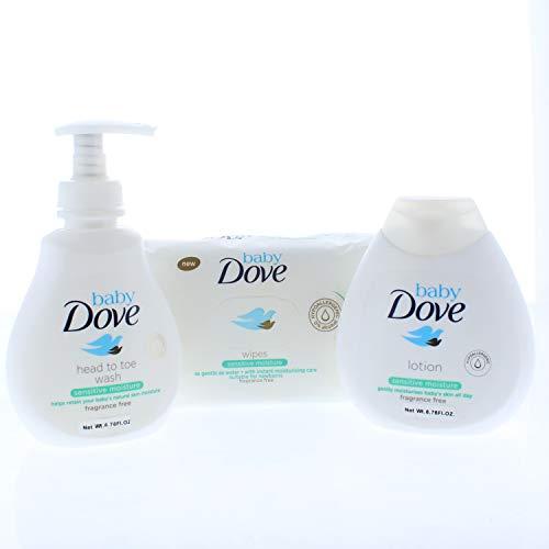 Sensitive Baby Basket - Baby Dove Sensitive Moisture Complete Care Bath Time Essentials Gift Set (3 Pieces)