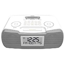 sangean-personal & portable rcr-10 white am/fm-rds digital atomic clock radio w/ ipod dock