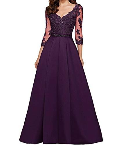 Da Sera scollo Donna Qiuqier manica V 4 Vestito a Abito Elegante 3 a Lungo Scuro Viola CzRq8