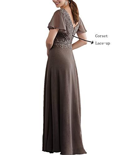 mit Spitze Abendkleider Ärmel Lovelybride Chiffon V Ausschnitt Kurze Linie A Partykleid Grau wBBSqx0A