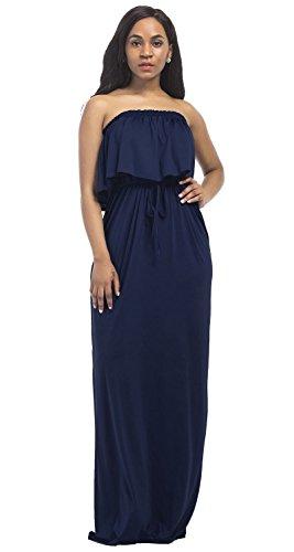 Aecibzo Maxi Robe Bustier, Plus La Taille Des Femmes Volants Casual Manches Longues Bleu Marine Robes