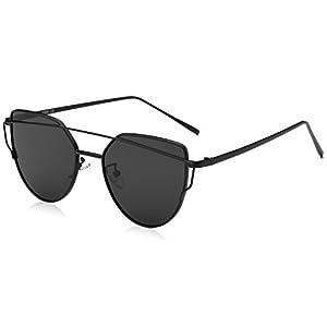 SojoS Cat Eye Mirrored Flat Lenses Street Fashion Metal Frame Women Sunglasses SJ1001 With Black Frame/Grey Lens