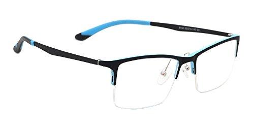 TIJN Rectangle Semi-rimless Business Eyeglasses Eyewear with Clear - Rimless Eyeglasses Rectangle