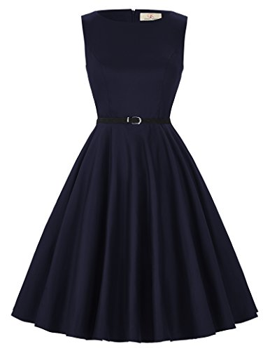 Vintage Pin-Up Dresses for Women Navy Blue Size S F-50