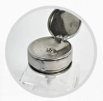 DL Professional Clear Glass Pump Dispenser Bottle with Metal Cap and Measuring Scales 6oz 180ml DL-C334