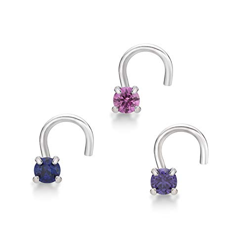 Lavari - 14K White Gold 2mm Created Pink Blue Purple Sapphire Nose Ring Set