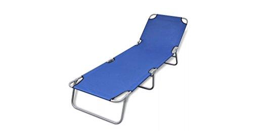 Comfyleads Foldable Sunlounger Adjustable Backrest Blue 74.4'' x 22.8'' x 10.6'' by Comfyleads