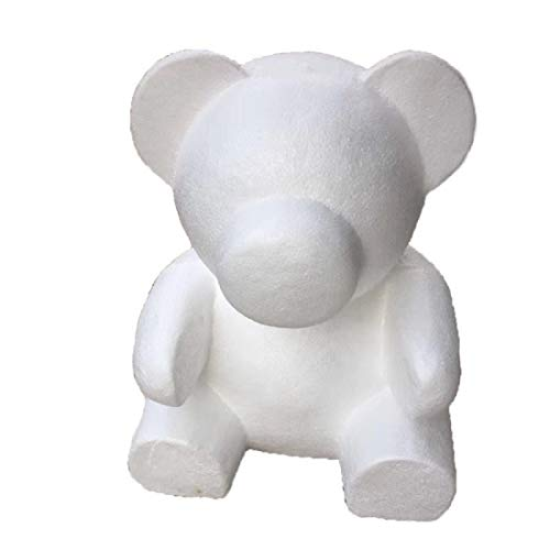 (Yalulu Bear-Shaped Modeling White 3D Polystyrene Foam Animal Shapes for DIY Rose Bear Crafts Valentine's Day Gifts)