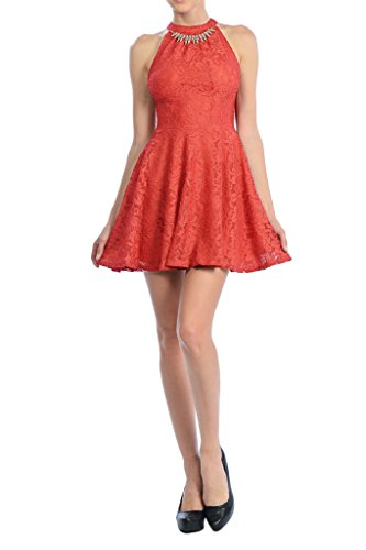 Auliné Collection Womens Halter Sleeveless Floral Lace Skater Dress Coral Small - Coral Halter Dress