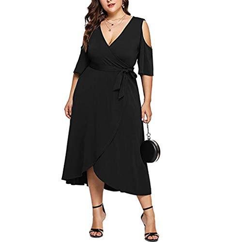 Scollo Scoperte Da Spiaggia Dress manica Partito Abito Nero Bluelucon Elegante A Vestito Spalle Corte Festa Donna Allentato V Casual nqYFnCwR