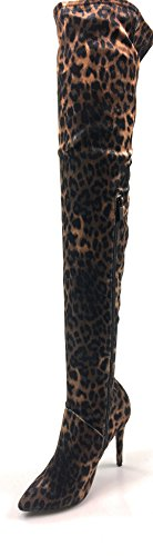 Bamboe Dames Tigh Hoge Laarzen Dichte Teen Slanke Hoge Hak Zijrits Winterpleister Toewijding-05 Luipaard