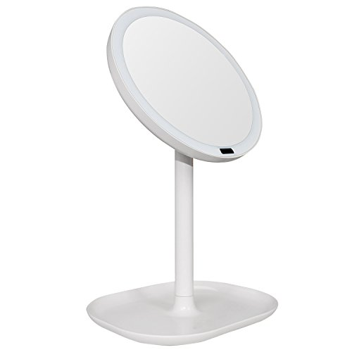 Meijing Lighted Makeup Mirror With Magnifying Mirror 10x,Motion Sensor Mirror - 360 Degree Rotation,Adjustable Brightness Rechargeable Portable Vanity Mirror(White)