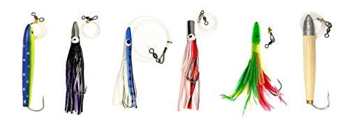 Cedar Plug-Tuna Feather-Jet Head Trolling Lures 6 Pieces Combo B