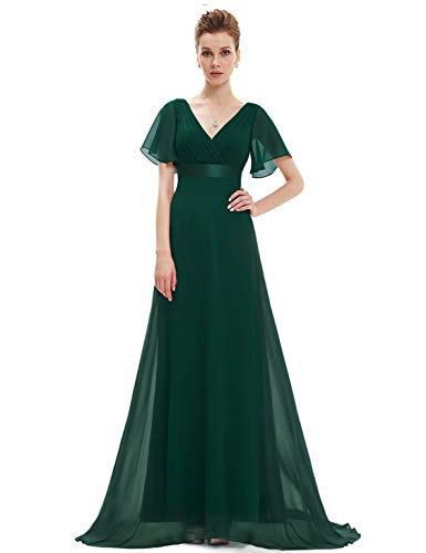 Women's Double V-Neck Evening Party Prom Dress Dark Green US26