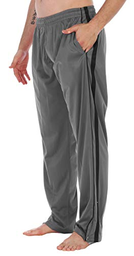 Gioberti Men's Athletic Track Pants, Silver, X Large