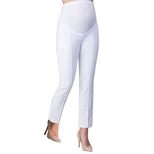 art Tailored Work Office Secret Fit Belly Trousers Pregnancy Leggings(White, L) ()