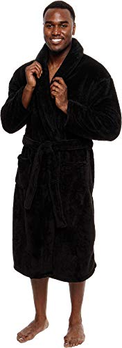 Ross Michaels Buffalo Plaid Hooded Bathrobe Mens Medium Length Luxury Plush Big /& Tall Sleep Robe